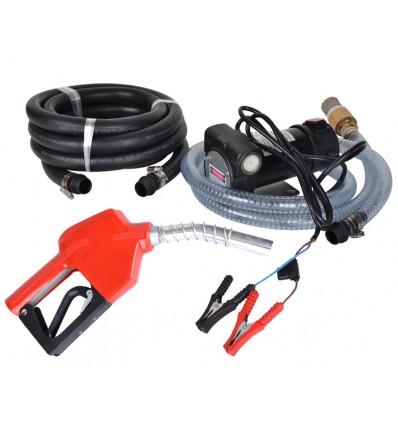 Dieselpumpe - 12 volt - med slange + håndtag