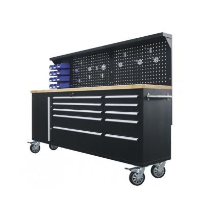Værkstedsvogn + arbejdsbord 215 cm