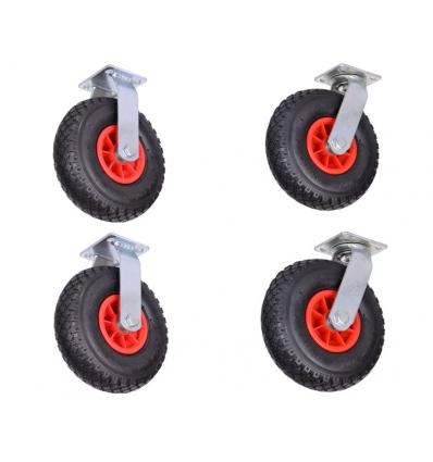 Transporthjul m/luft 2 x fast fod 2 x drejefod