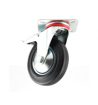 Transporthjul ø160 mm hård gummi med lås og drejefod