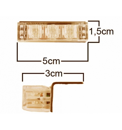 Blitzlys orange enkelt lampe 50x15 mm