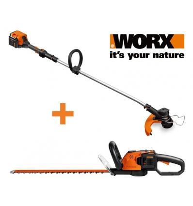 Usædvanlig 40 volt Worx græstrimmer + hækkeklipper SY05