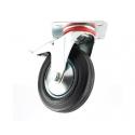 Transporthjul ø100 mm i hård gummi - drejefod + lås